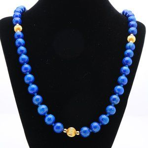 Lapis Lazuli Hand-knotted Bead Necklace - 32 in